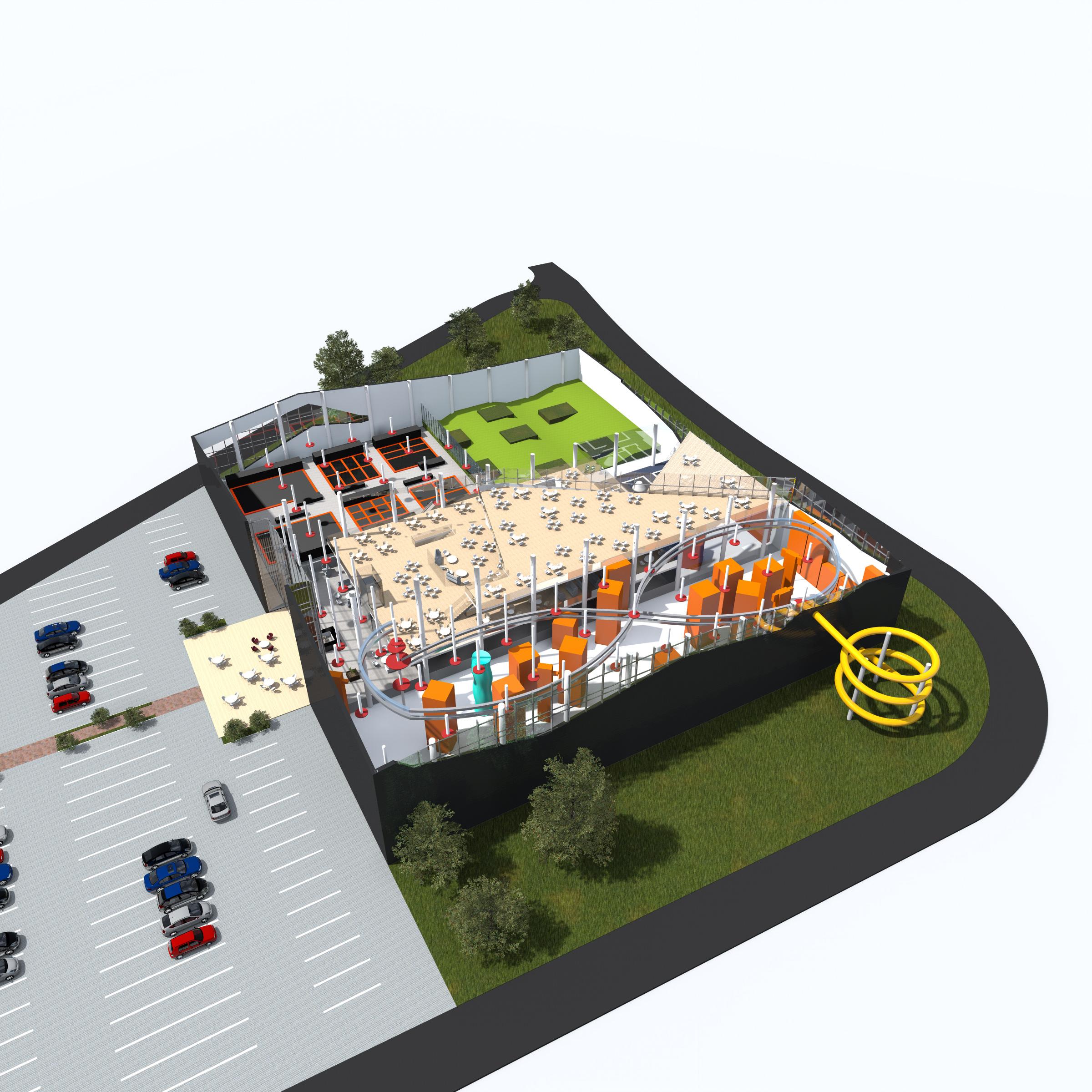 apogeum, centrum sportowe, architektura, widok z gory, projekt rekreacyjny