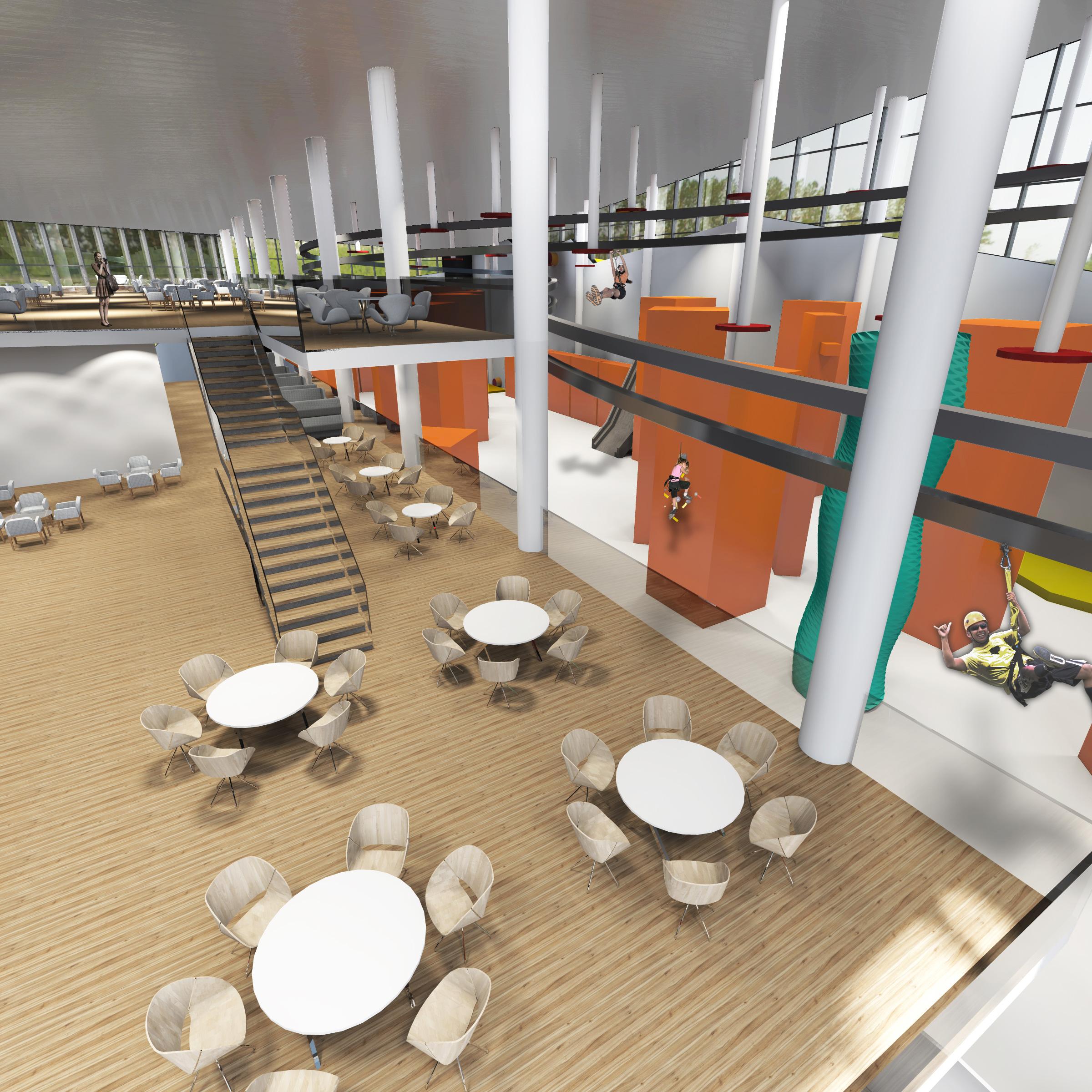 apogeum, centrum sportowe, wnetrze, architekt, projekt, scianka wspinaczkowa, kafeteria