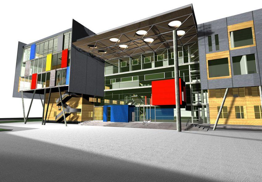 rozbudowa, wyzsza szkola techniczna, wst, katowice, wizualizacja, elewacja, front, atelierps