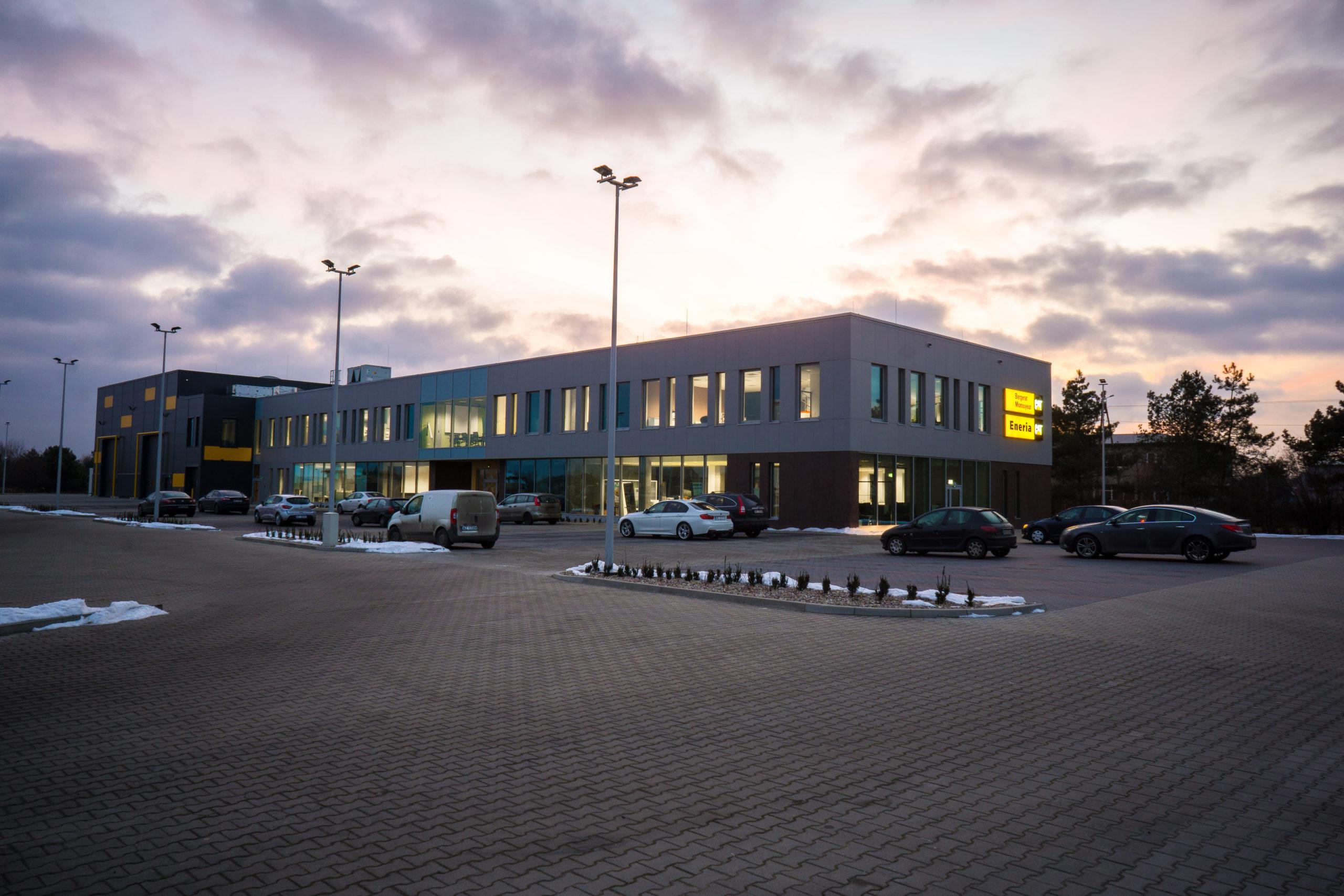 bergerat monnoyeur, budynek biurowo-serwisowy, caterpillar, elewacja, projekty budowlane