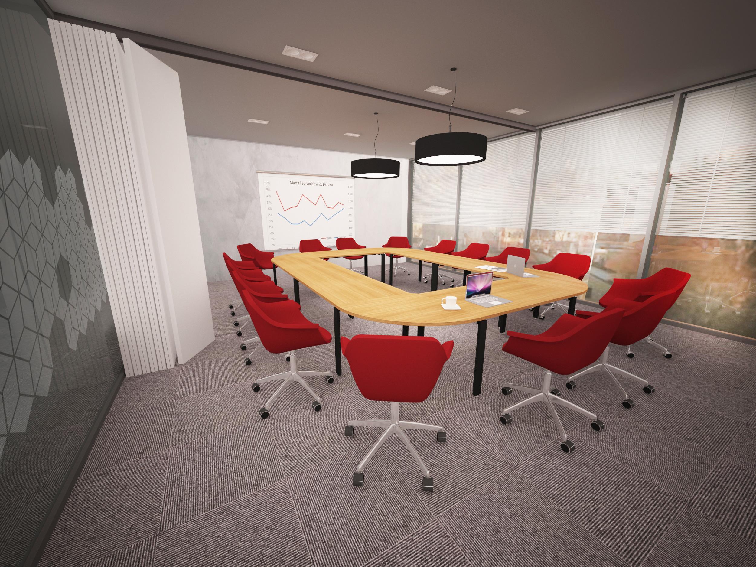 bergerat monnoyeur, budynek biurowo-serwisowy, wnetrze, sala konferencyjna, caterpillar, czerwien, 2015
