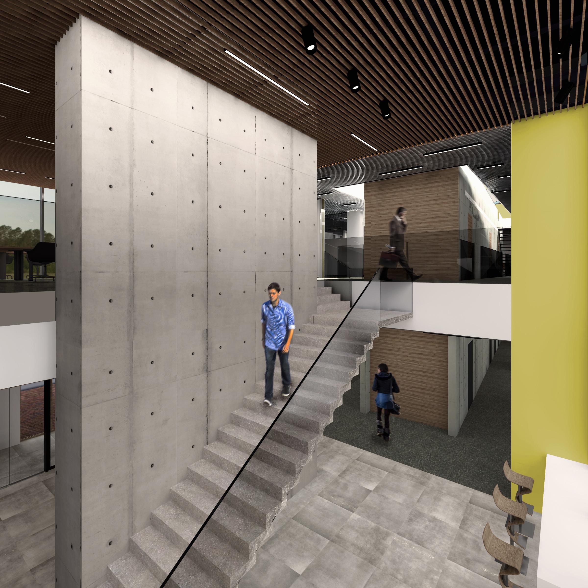 bergerat monnoyeur, budynek biurowo-serwisowy, wnetrze, caterpillar, 2015, schody, szklo, beton, atelierps
