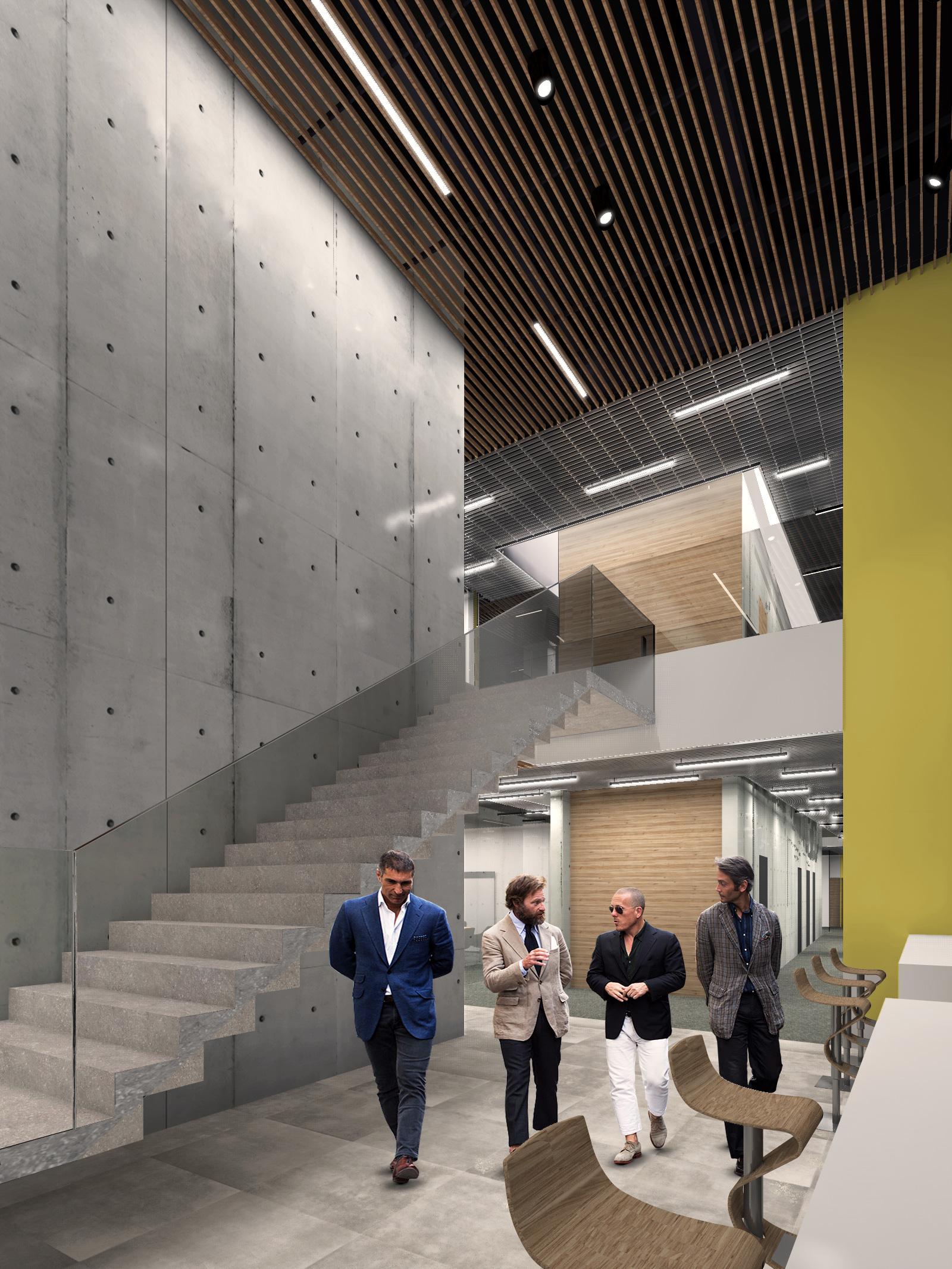 bergerat monnoyeur, budynek biurowo-serwisowy, wnetrze, caterpillar, 2015, schody, szklo, beton