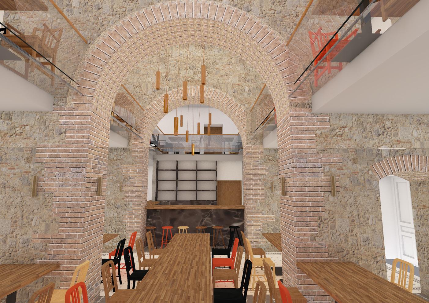 browar donnesmarckow, wnetrze, stoliki, bar, nadzor budowlany