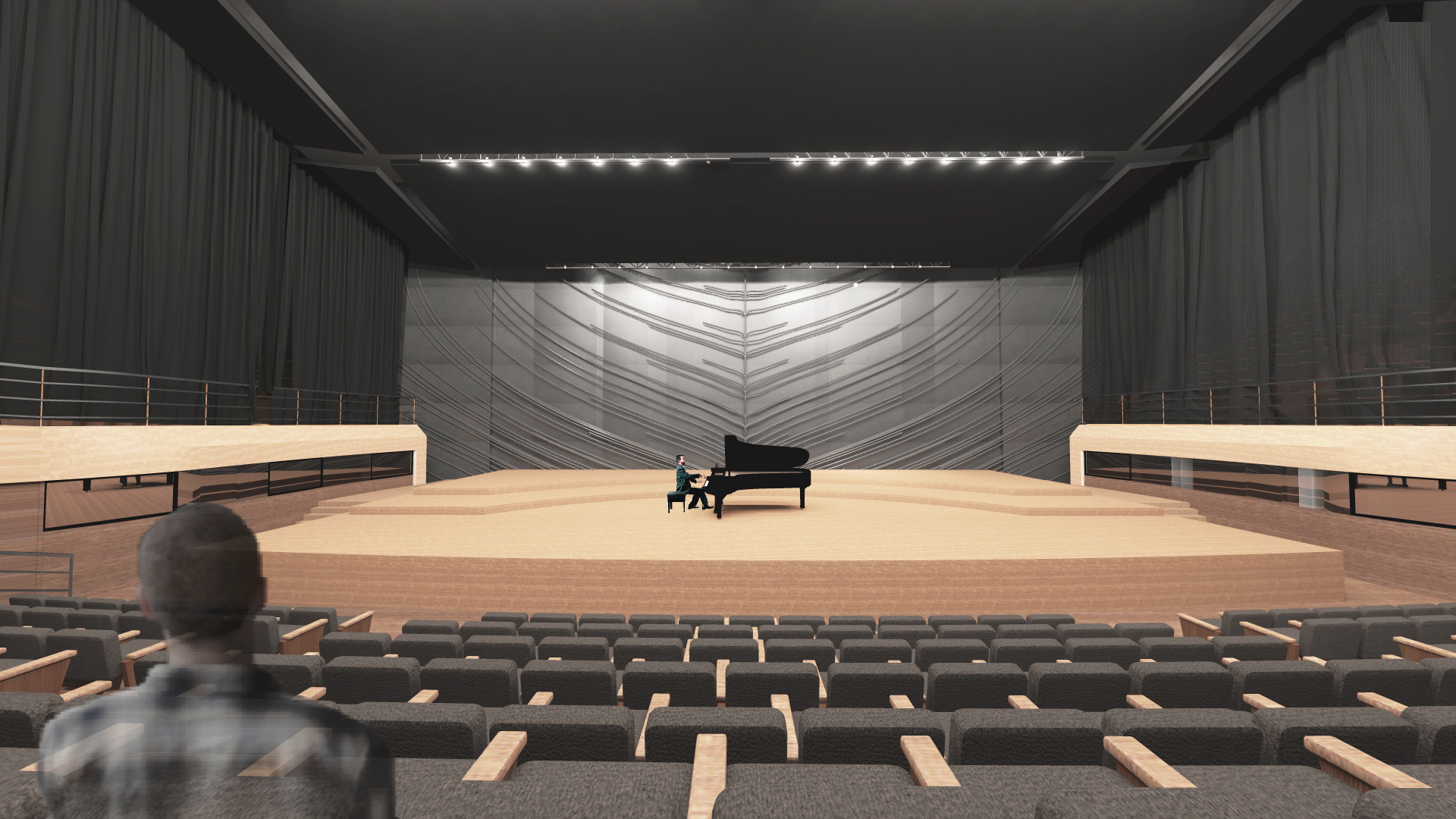 Chopin Music Center, visualisation of the concert hall, solo pianist