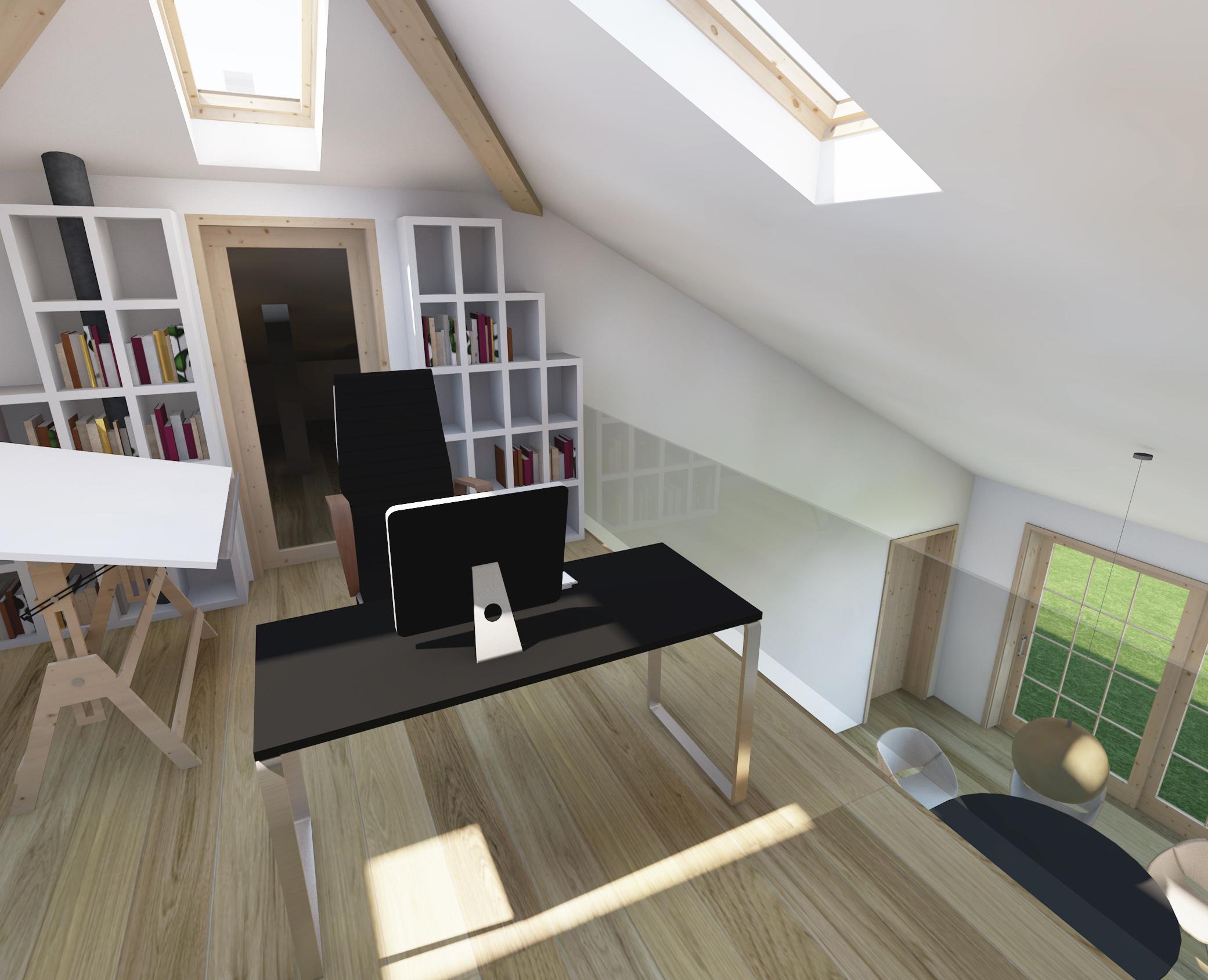 dom prosty, antresola, biuro, miejsce pracy, architektura