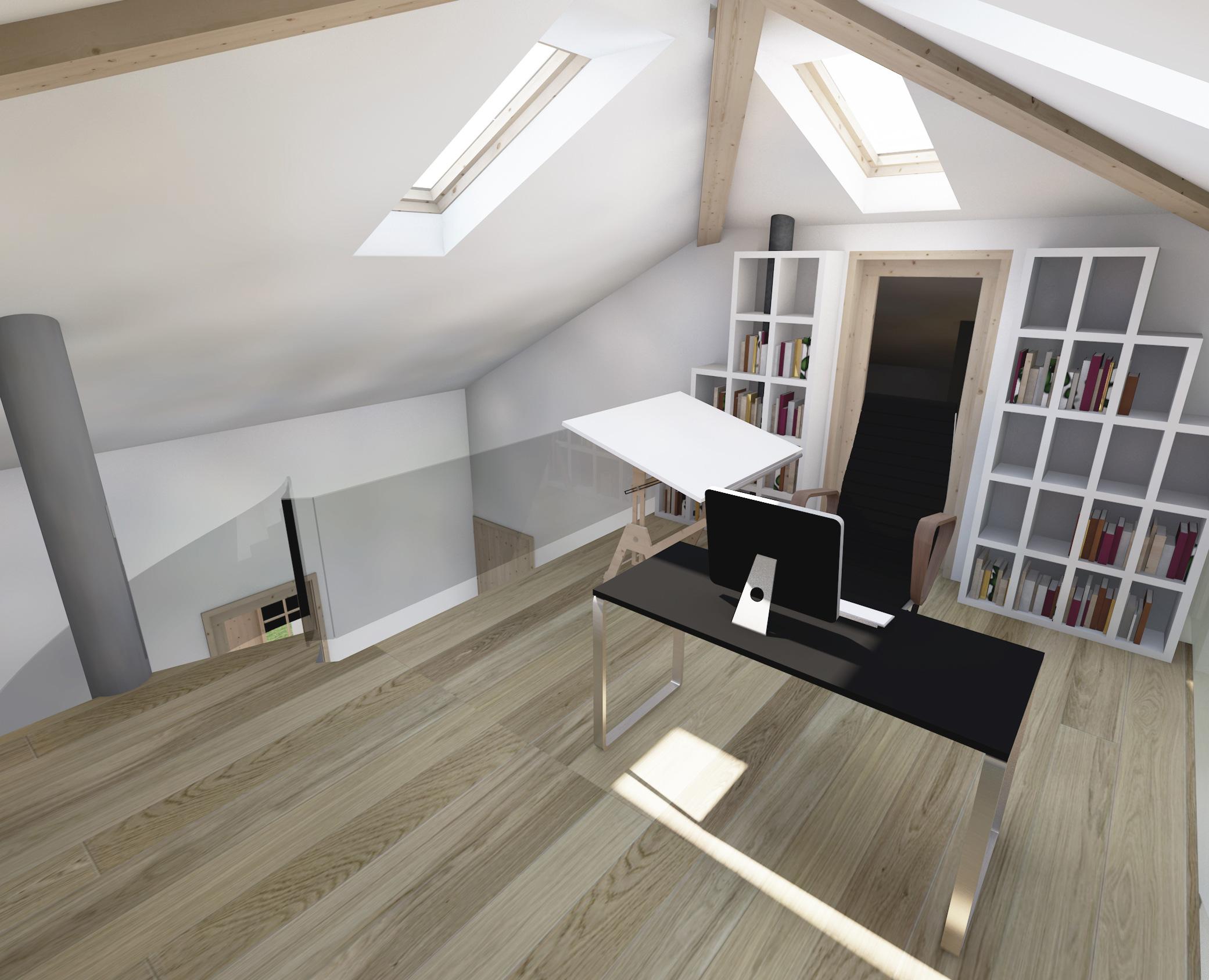 dom prosty, antresola, biuro, miejsce pracy, deska kreslarska, projekty budowlane