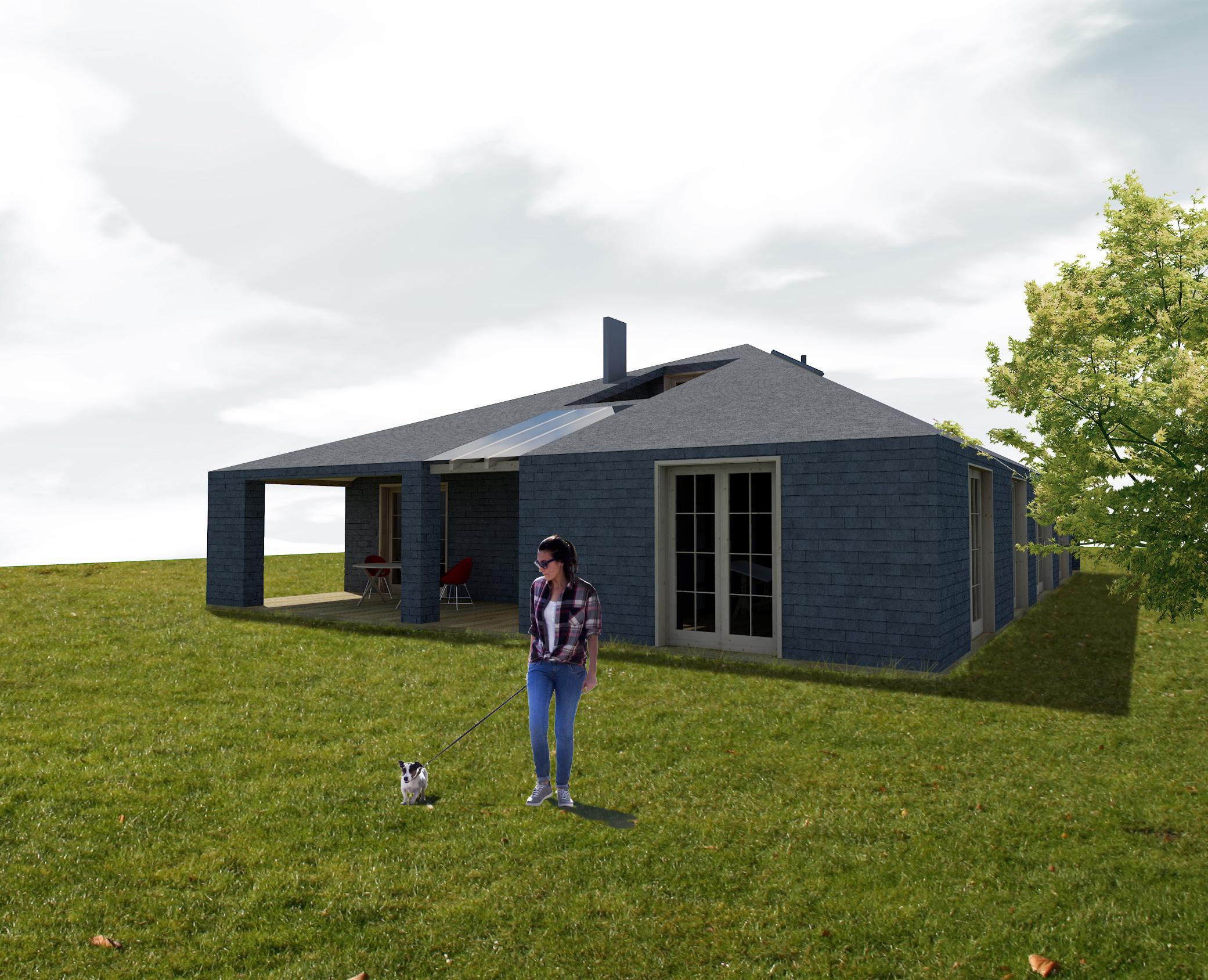 dom prosty, bojszowy, architektura, okno dachowe, dekonstruktywizm