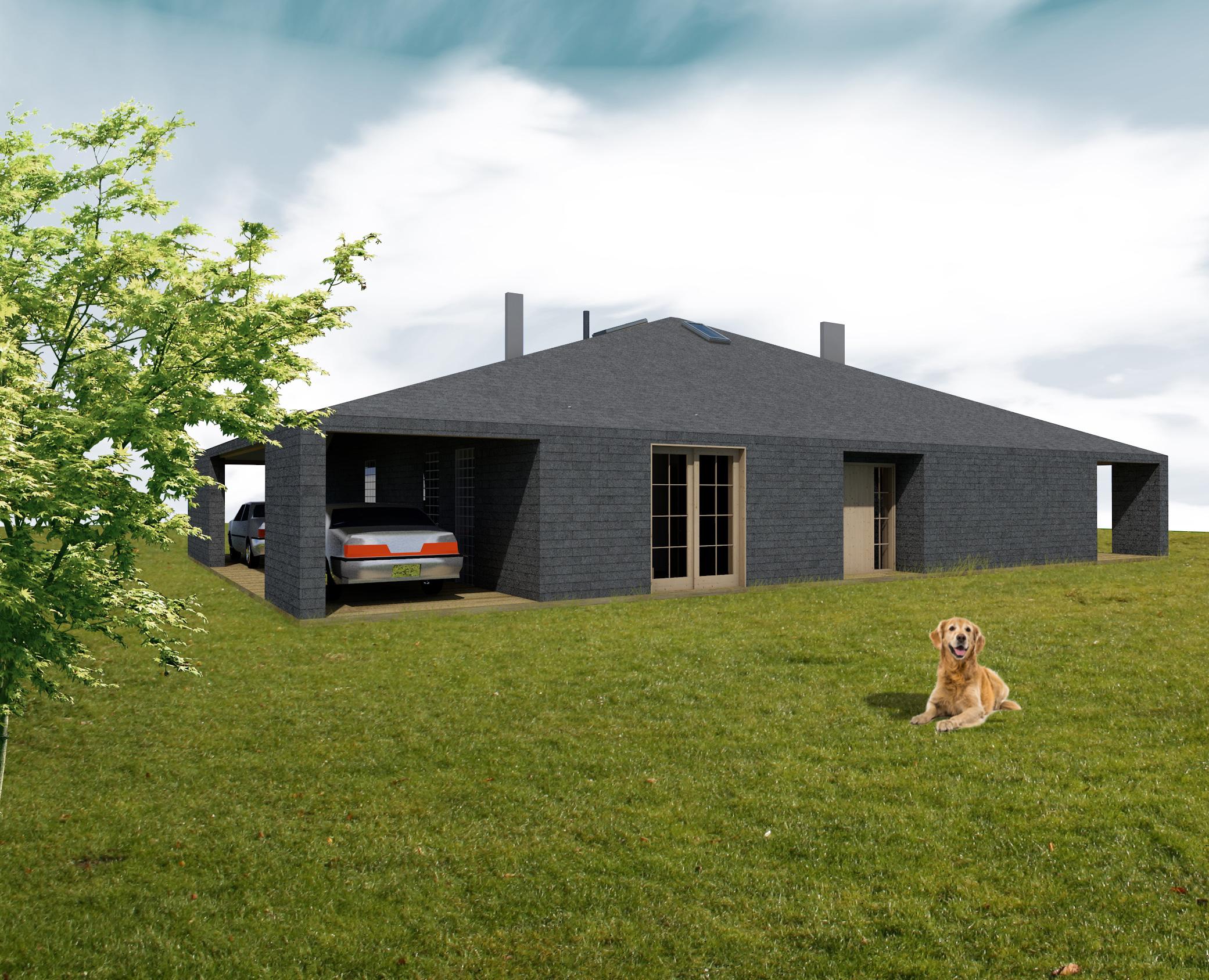 dom prosty, elewacja, projekty budowlane