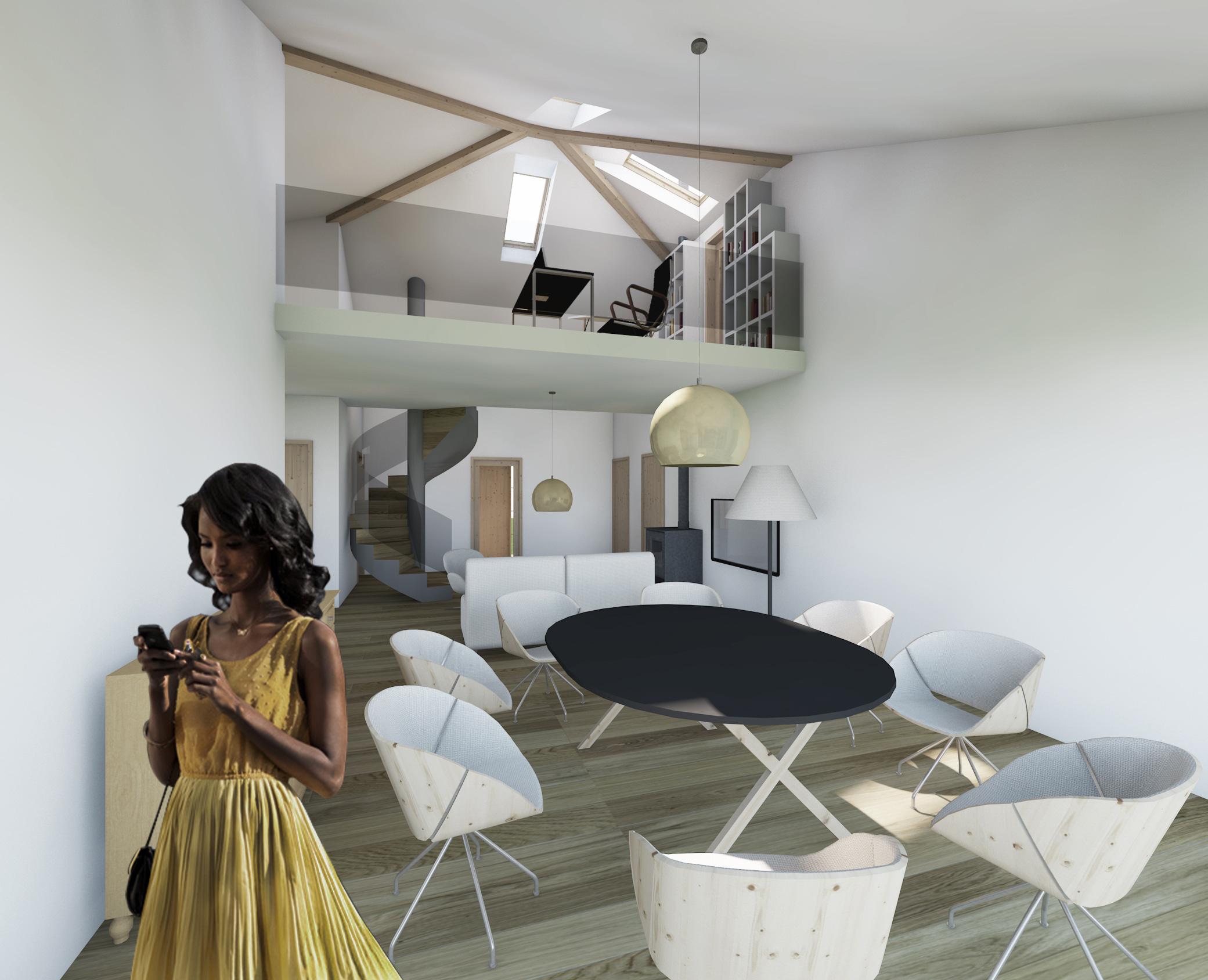 dom prosty, bojszowy, wnetrze, duzy pokoj, living room, schody krecone, biuro, antresola