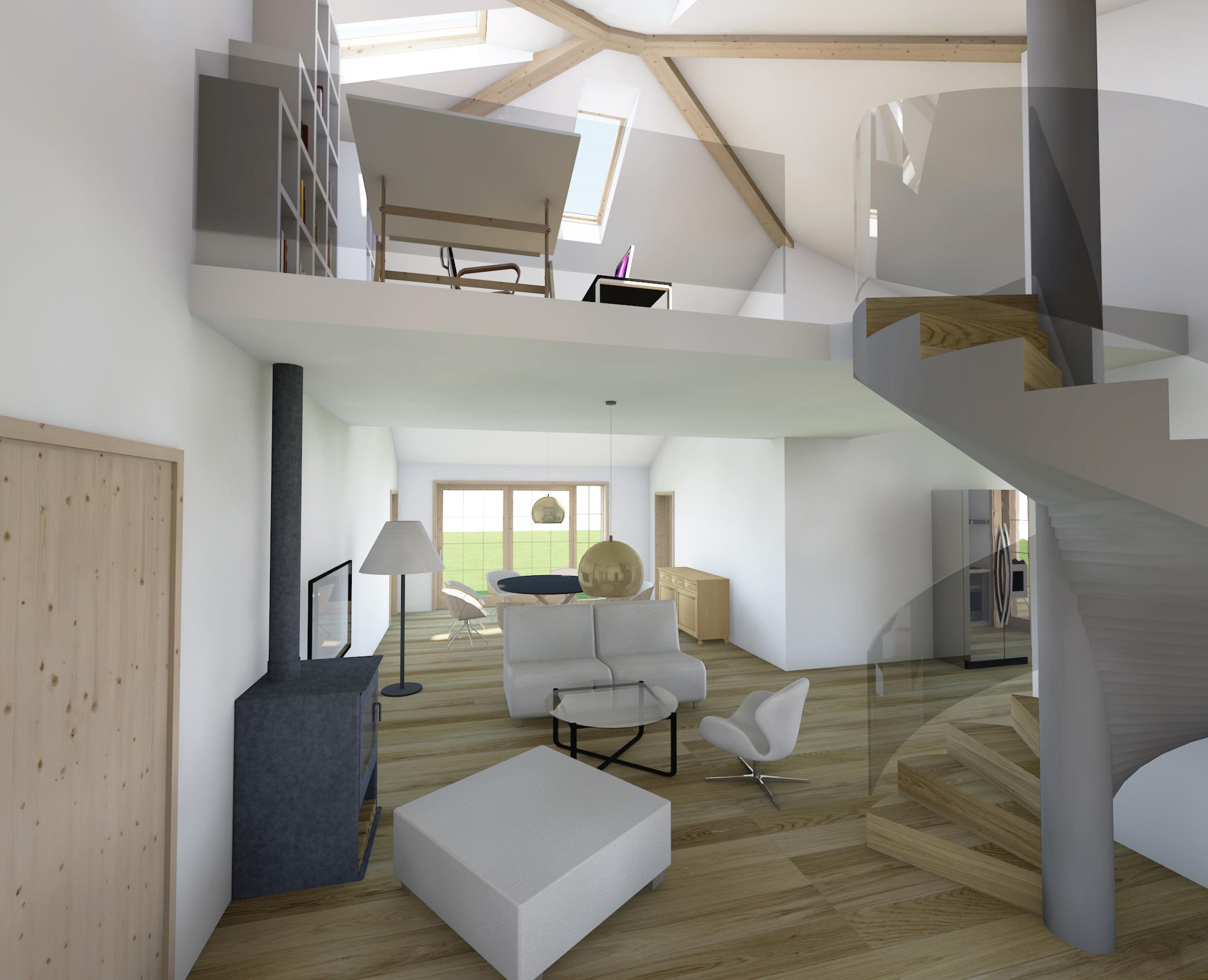 dom prosty, wnetrze, krecone schody, design