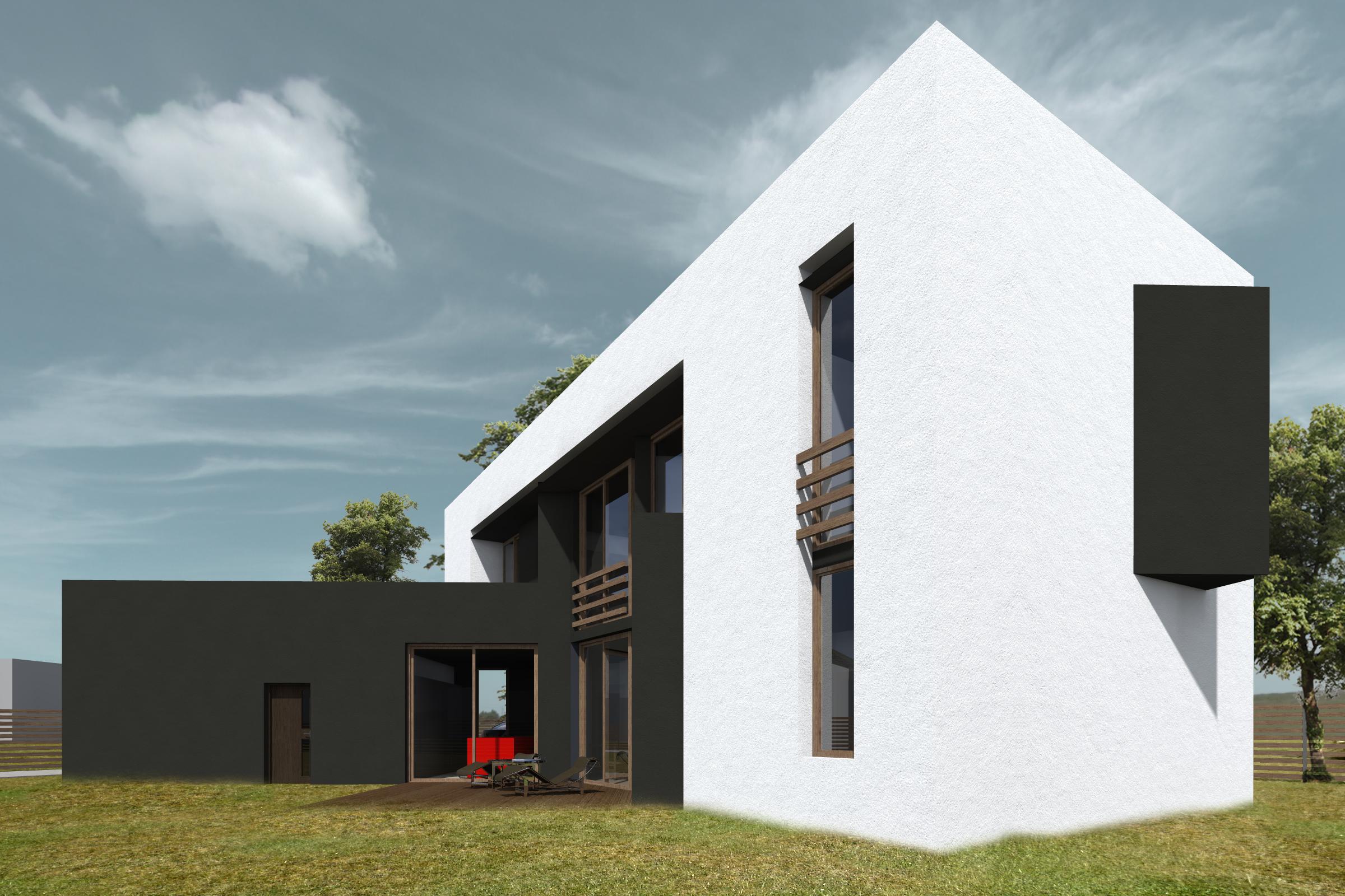 dom skrecony, widok od grodu, biuro projektowe, architekt slask