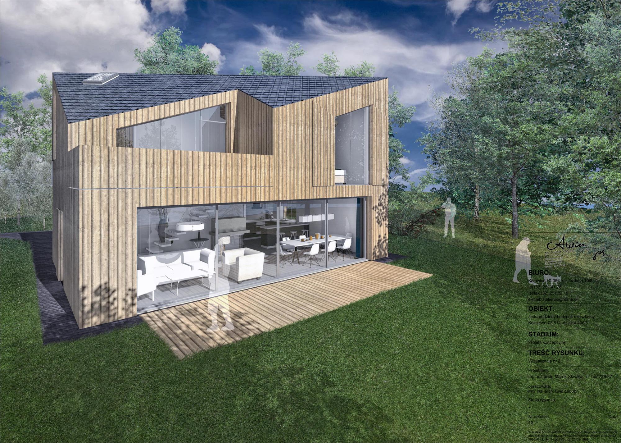 dom weekendowy, otwarcie od ogrodu, w srodku lasu, atelierps