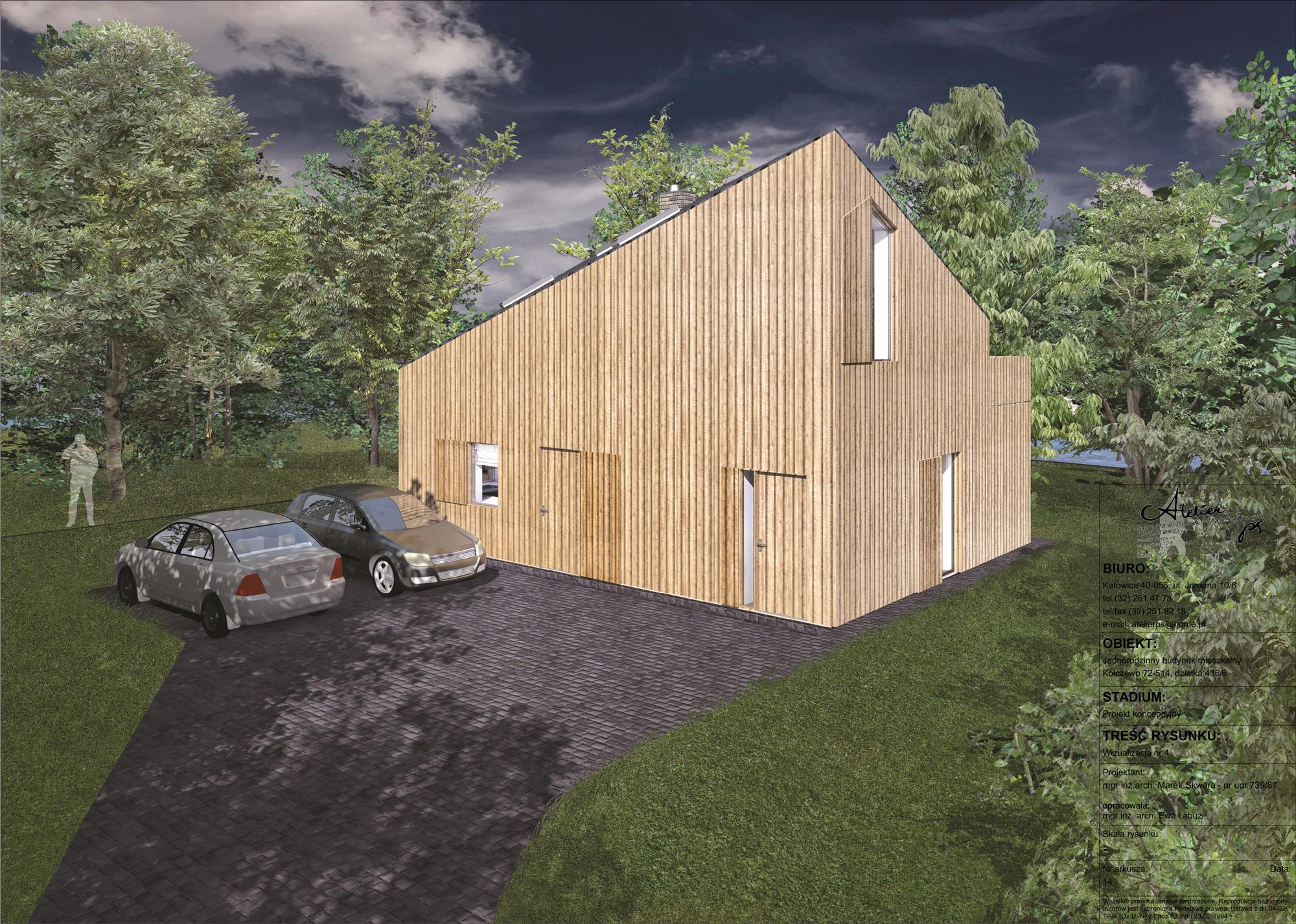 dom weekendowy, biuro projektow, drewno, zielen, wypoczynek
