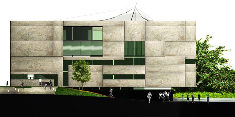 konkurs, budynek dydaktyczno-badawczy, kulturalny, asp, katowice, elewacja polnocna