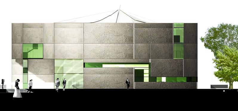 konkurs, budynek dydaktyczno-badawczy, kulturalny, asp, katowice, elewacja