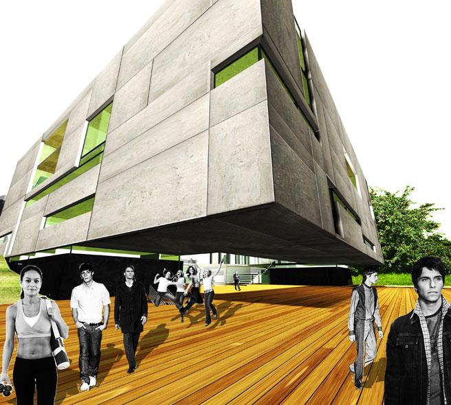 konkurs, budynek dydaktyczno-badawczy, kulturalny, asp, katowice, wejscie