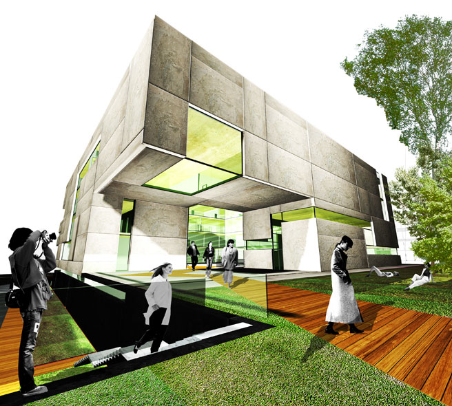 konkurs, budynek dydaktyczno-badawczy, kulturalny, asp, katowice, architekton, zielen