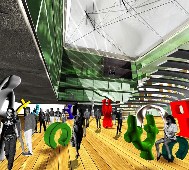 konkurs, budynek dydaktyczno-badawczy, kulturalny, asp, katowice, lobby