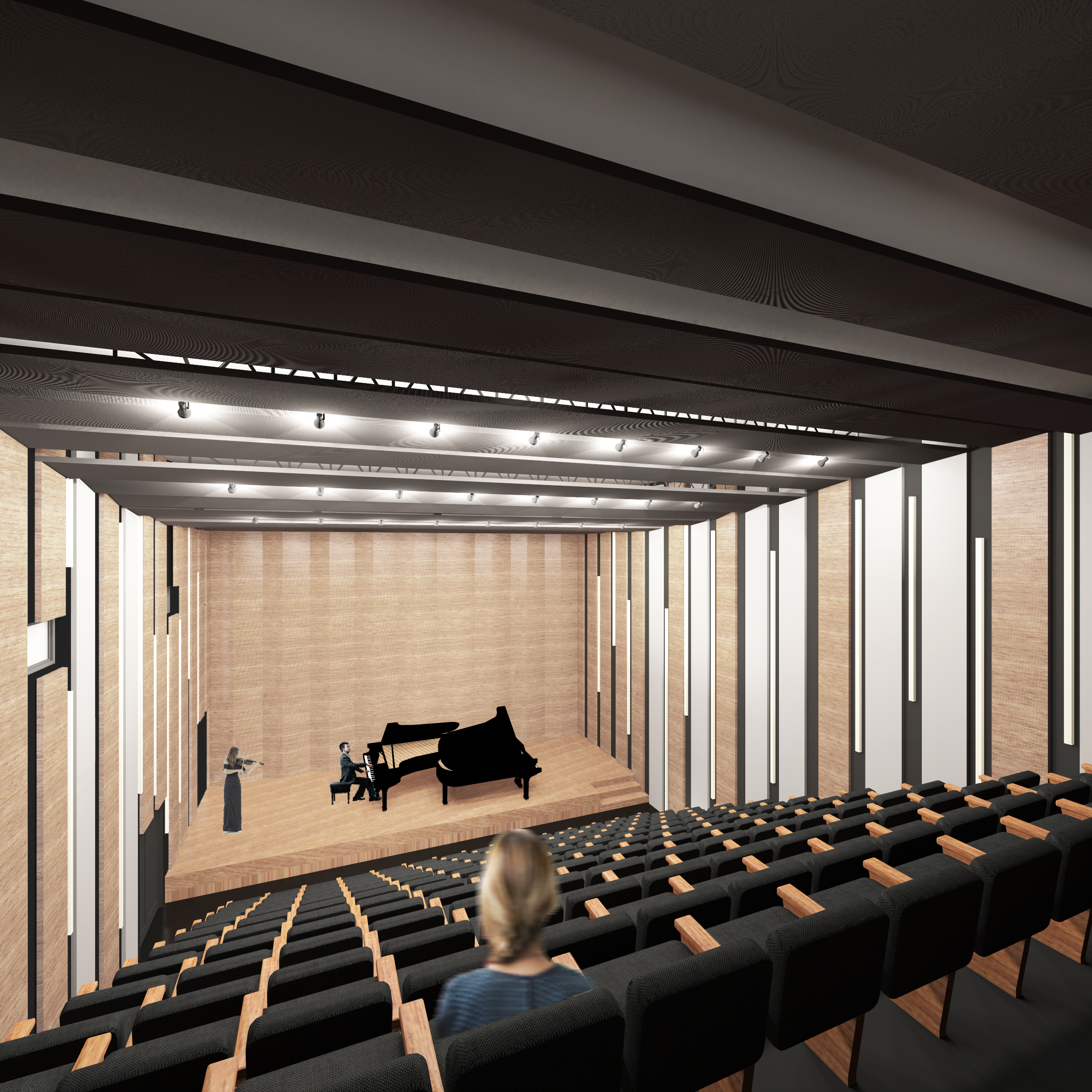 Chopin Music Center, concert hall, pianist with violinist, view from an angle