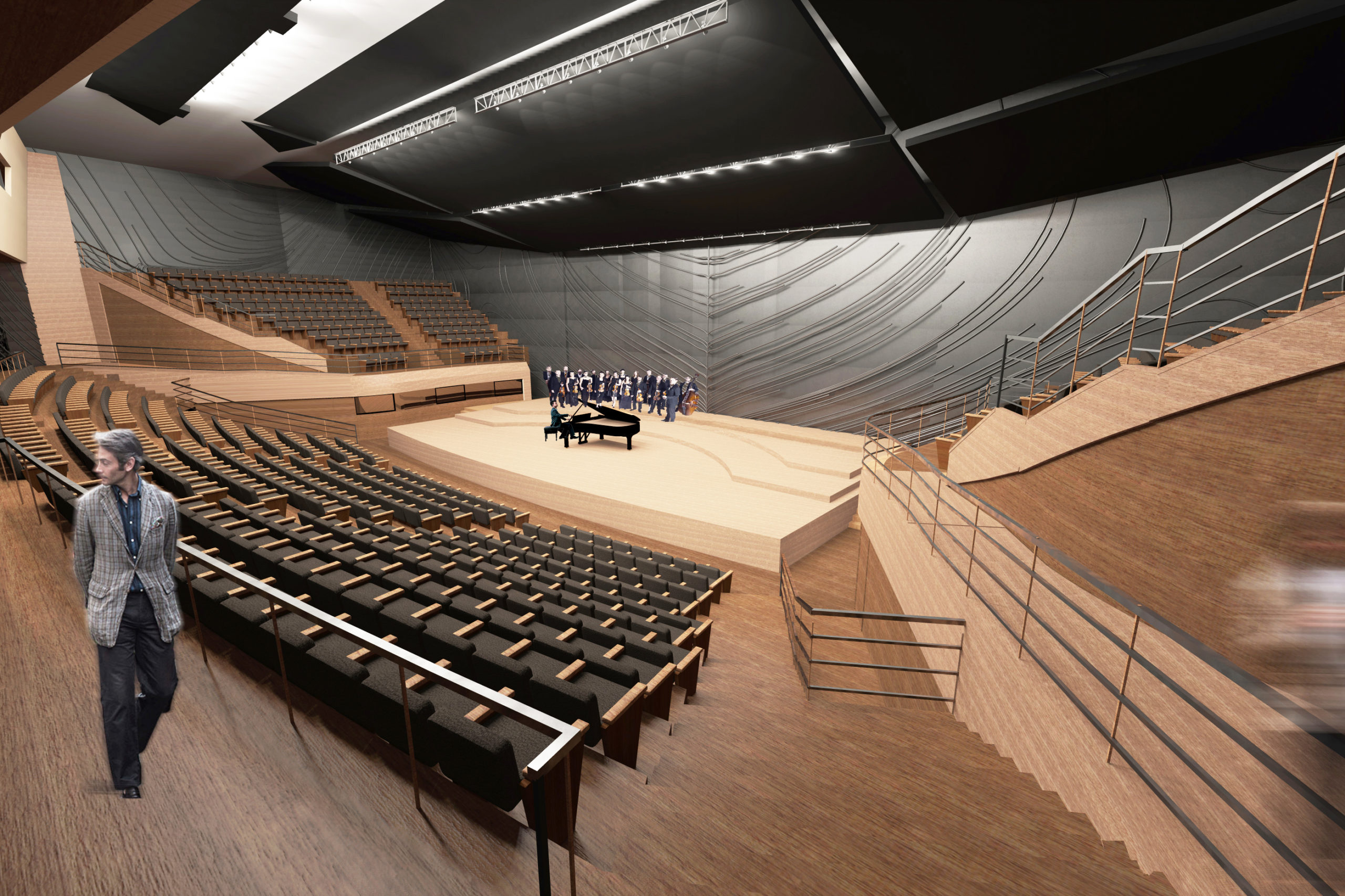 Chopin Music Center, concert hall, pianist with choir, view from an angle