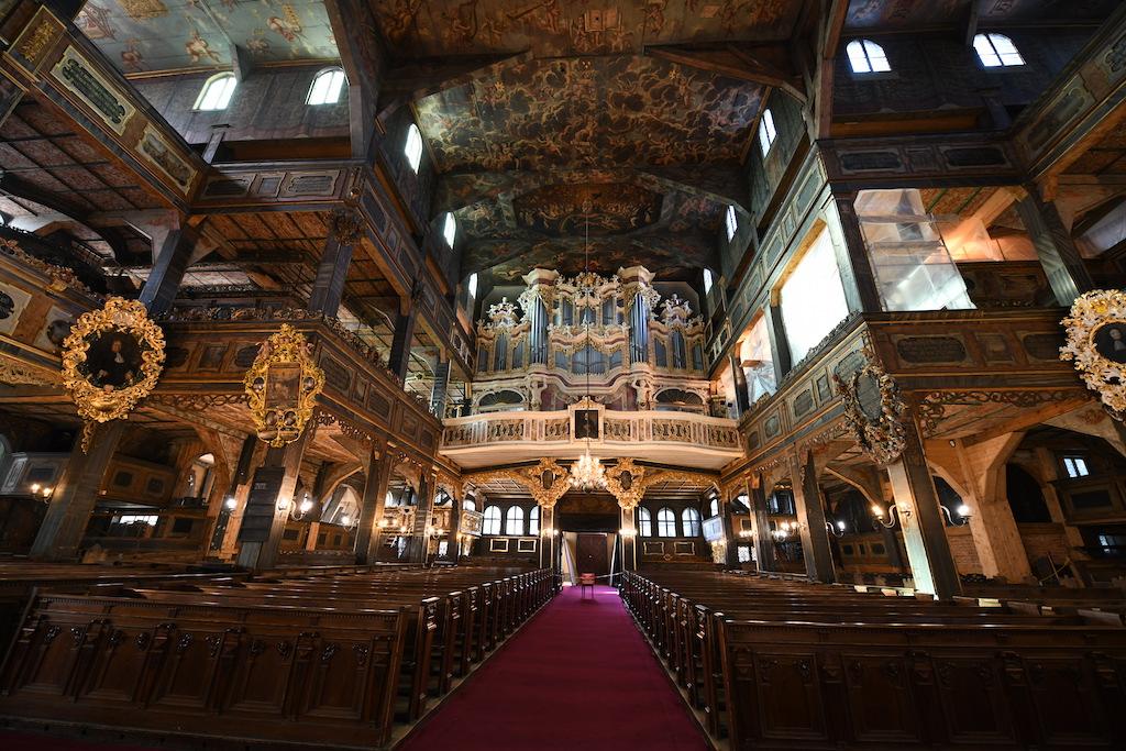Swidnica Church of Peace, Altar, view from inside, wooden interior, Kościół Pokoju Świdnica, drewniane wnętrze, ołtarz