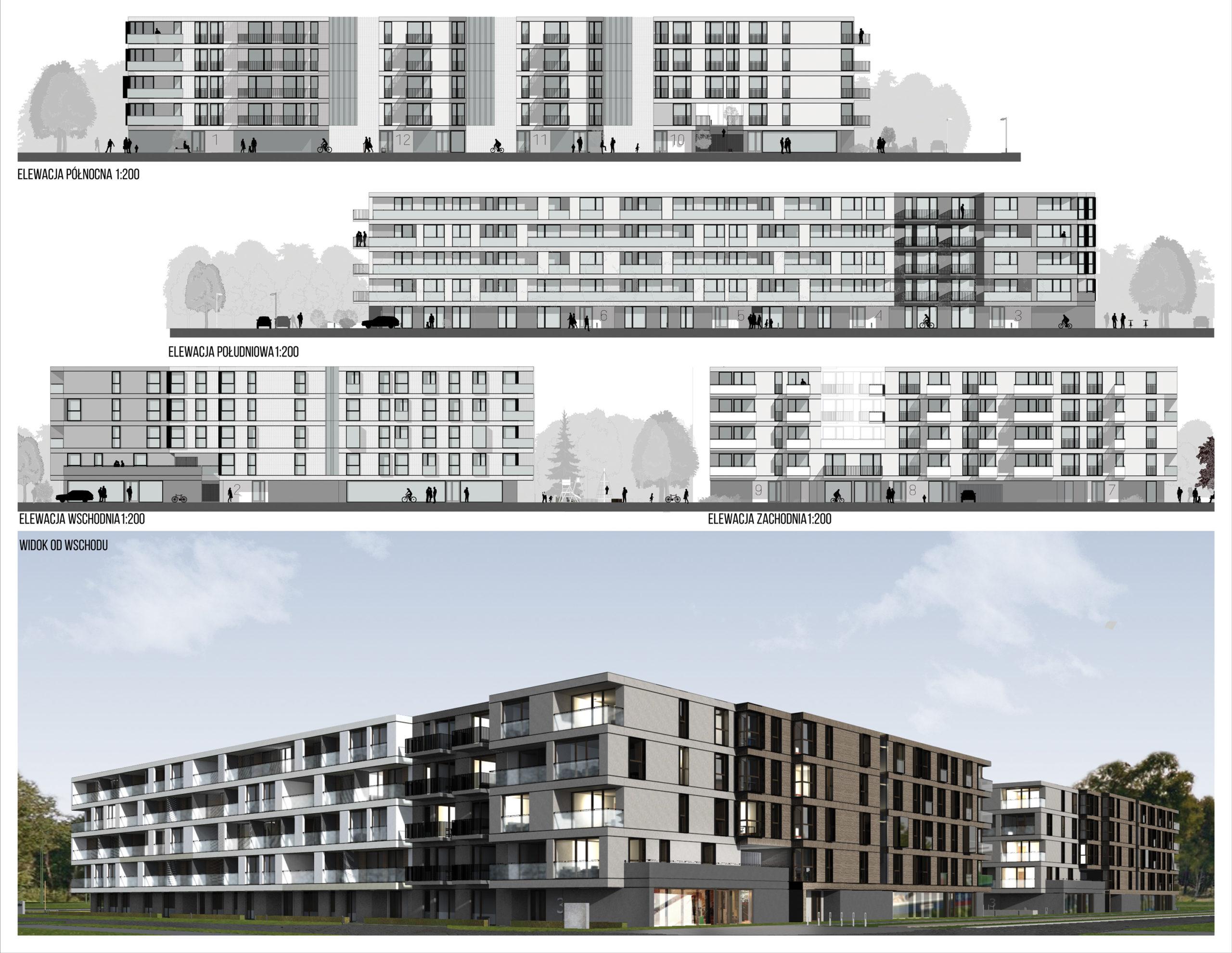 mrowcza gorka, zespol mieszkaniowy, architekt slask, elewacja wschodnia, elewacja zachodnia, widok od wschodu