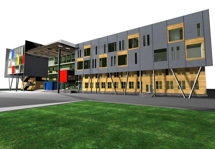 rozbudowa, wyzsza szkola techniczna, wst, katowice, wizualizacja, elewacja, front