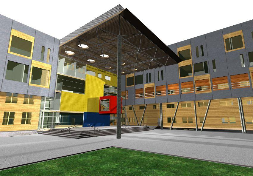 rozbudowa, wyzsza szkola techniczna, wst, katowice, wizualizacja