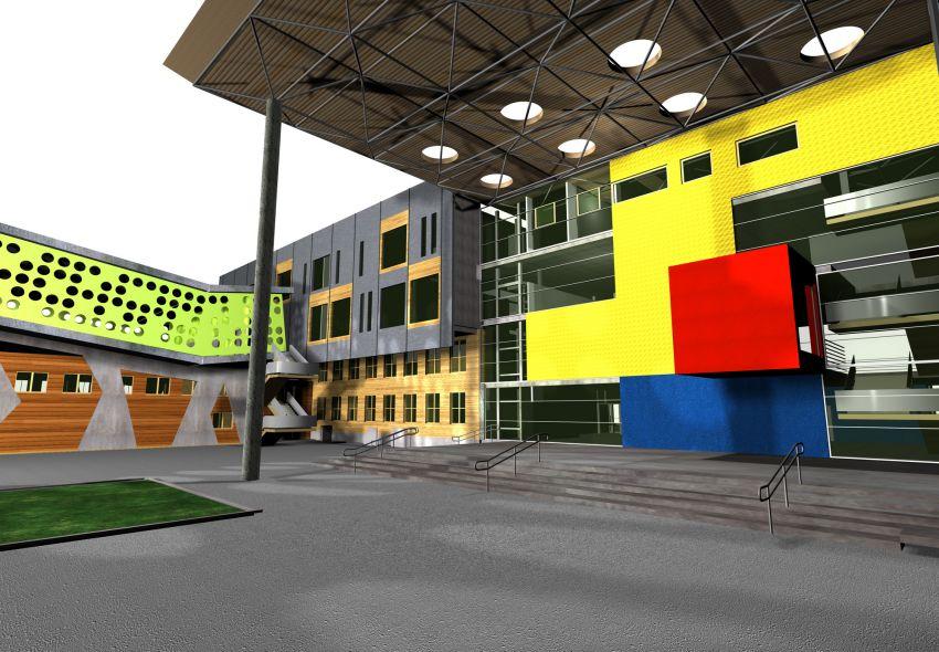 rozbudowa, wyzsza szkola techniczna, wst, katowice, wizualizacja, patio, kolor